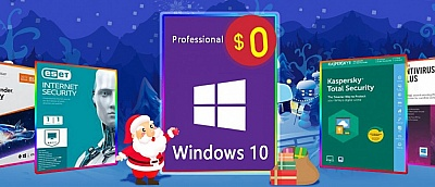 Скидки на Рождество 2019: Windows 10 Pro бесплатно, лицензионный Касперский и другие антивирусы за полцены